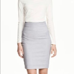 H&M Stretch Weave Pencil Lined Skirt Grey size 6